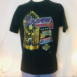 Rare! 1995 Single stitch! Braves World Series tee